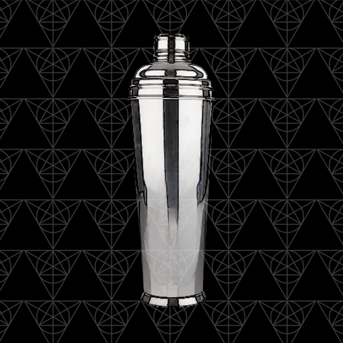 Cocktail shaker from Tini Grails against black.