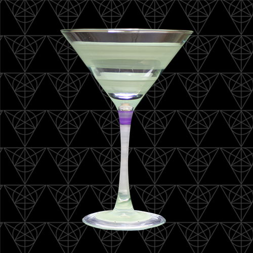 Floating Cuke martini glass at Tini Grails against black