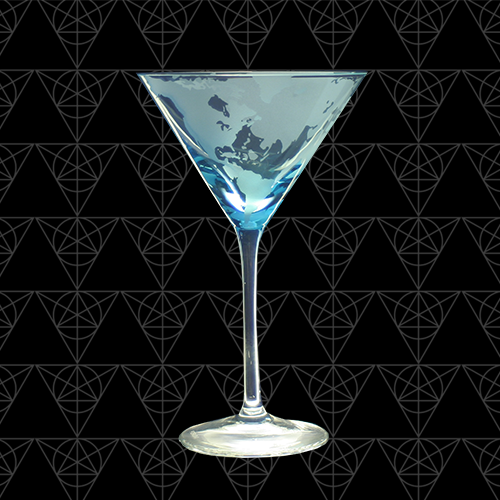 Hand blown martini glass of the map of the earth.