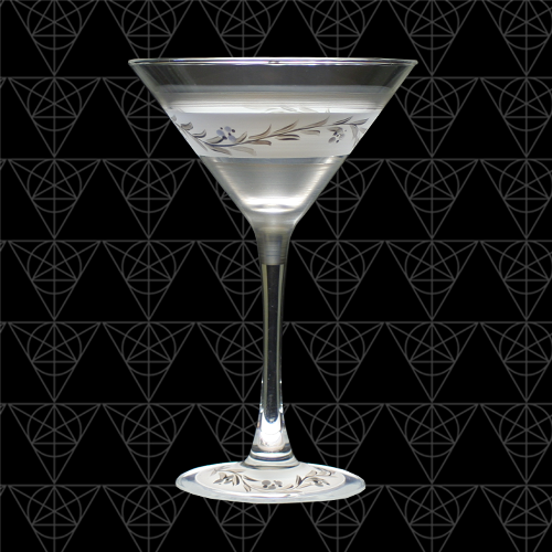 Silver Lining martini glass against black.