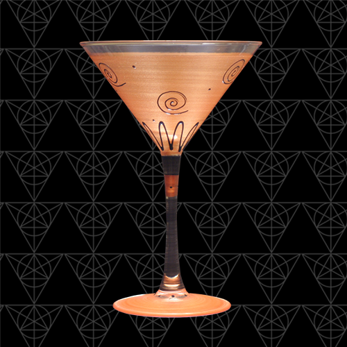 Golden Grail martini glass at Tini Grails against black