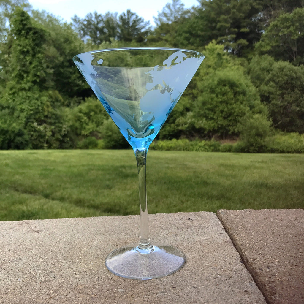 Earthly Concern martini glass shot outdoors on a patio.