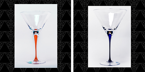 Crystal Stemmed Pair - martini glasses from Tini Grails made in Romania with orange and blue bubbles blown into the stems.