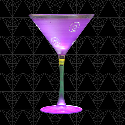 Royal Temptation purple martini glass at Tini Grails against black