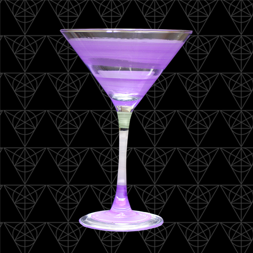 Sky Purple martini glass at Tini Grails against black