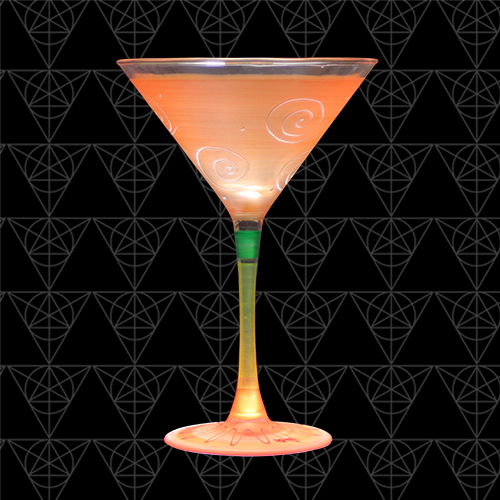 Tangerini martini glass at Tini Grails against black