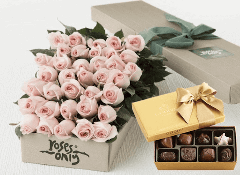 Pink Roses with Godiva