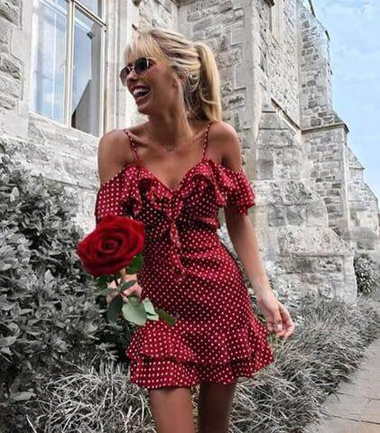 Woman In Red Dress Single Rose