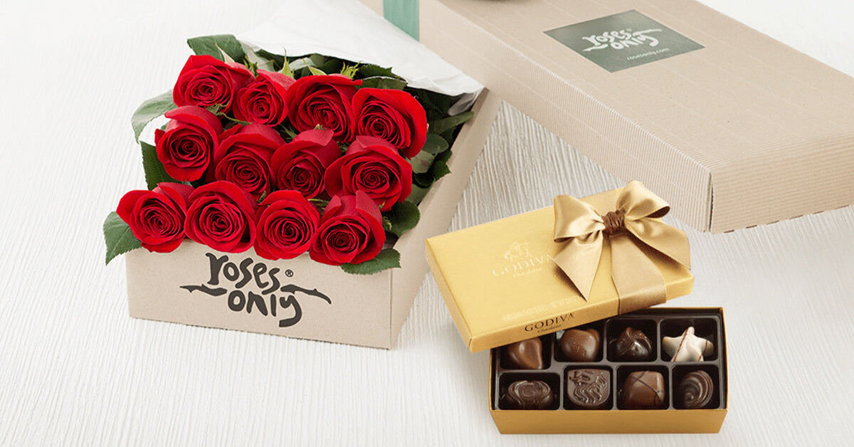 Roses Only red roses with box of luxury Chocolate