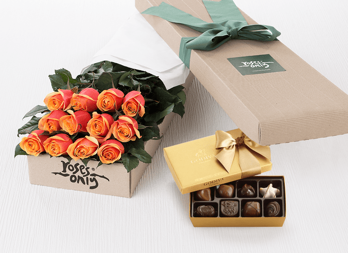 12 Cherry Brandy Roses Gift Box & Gold Godiva Chocolates