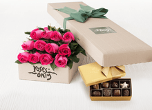 Mother's Day 12 Bright Pink Roses Gift Box & Gold Godiva Chocolates