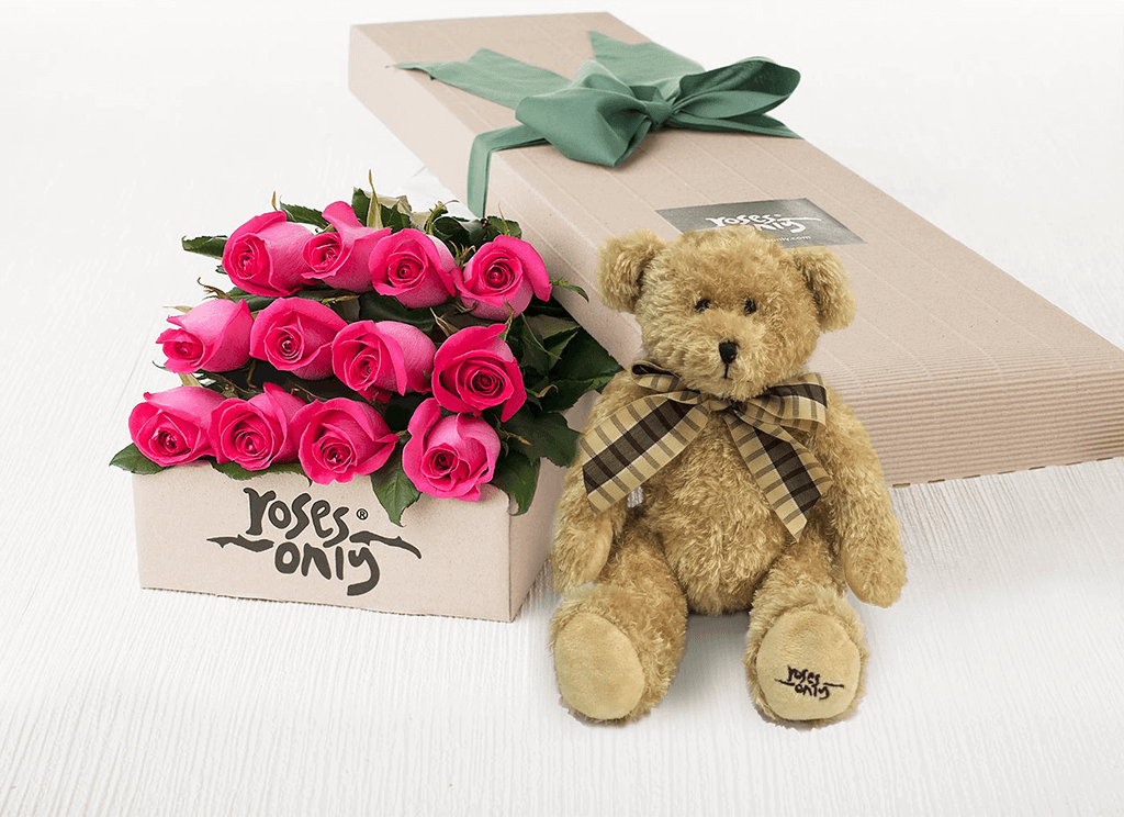 12 Bright Pink Roses Gift Box & Teddy Bear