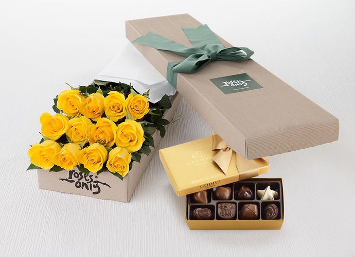 Mother's Day 12 Yellow Roses Gift Box & Gold Godiva Chocolates