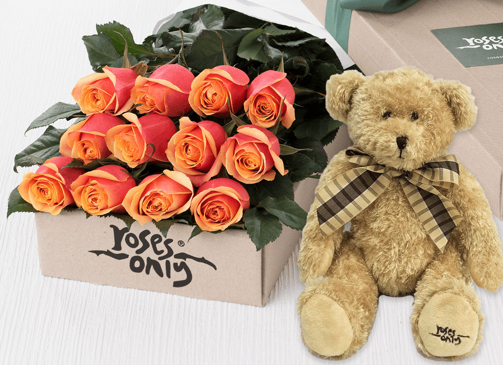 12 Cherry Brandy Roses Gift Box & Teddy Bear