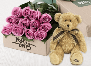 12 Mauve Roses Gift Box & Teddy Bear