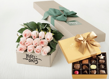 Mother's Day 12 Pastel Pink Roses Gift Box & Gold Godiva Chocolates