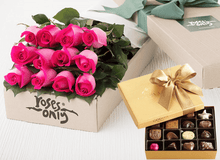 12 Bright Pink Roses Gift Box & Gold Godiva Chocolates