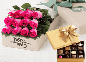 Bright Pink Roses Gift Box 12 & Godiva Chocolates
