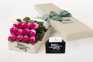 12 Bright Pink Roses Gift Box & Scented Candle