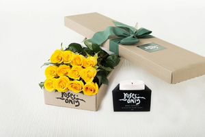 12 Yellow Roses Gift Box & Scented Candle