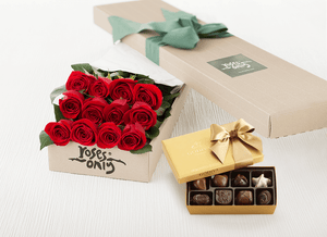 Mother's Day 12 Red Roses Gift Box & Gold Godiva Chocolates