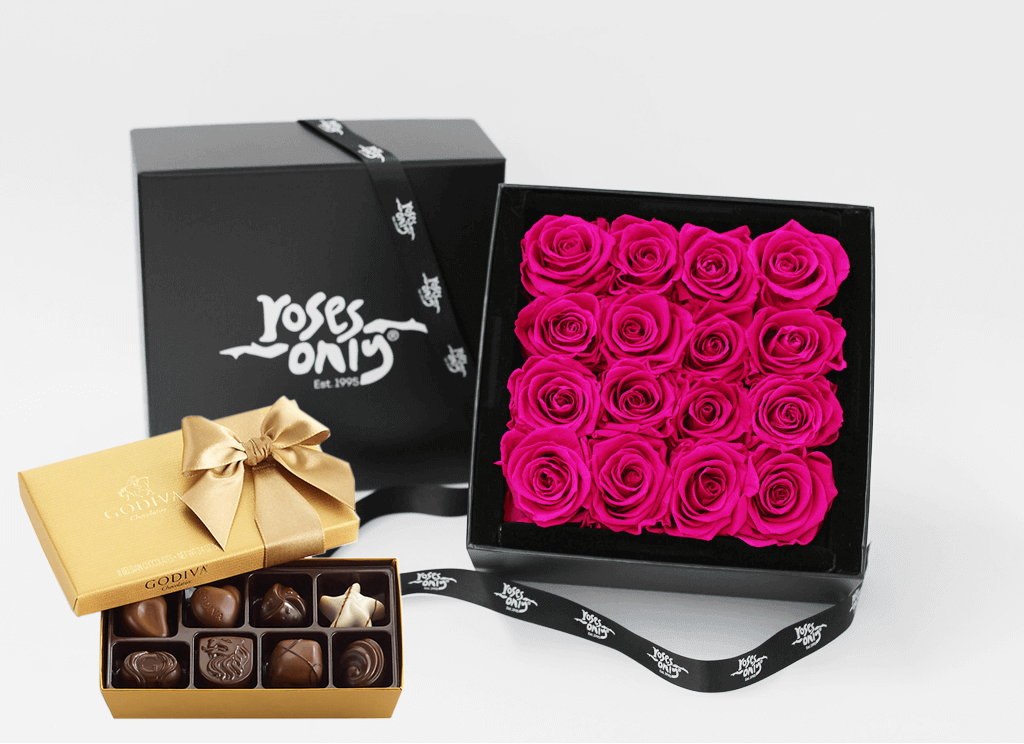 Mother's Day Stunning 16 bright pink infinity roses, beautifully presented in a black box & Gold Godiva Chocolates