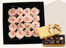 Mother's Day Stunning 16 pastel pink infinity roses, beautifully presented in a black box & Gold Godiva Chocolates