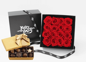 Mother's Day Stunning red infinity roses, beautifully presented in a black box & Gold Godiva Chocolates