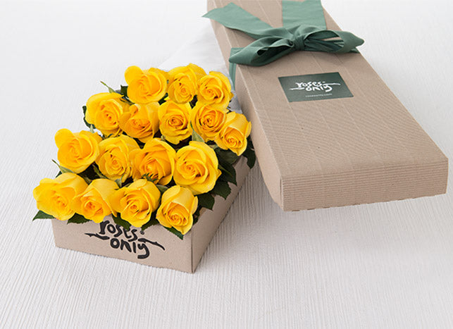 16 Yellow Roses Gift Box