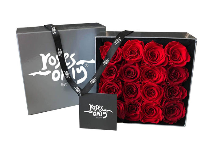 16 Valentines Red Infinity Preserved Roses