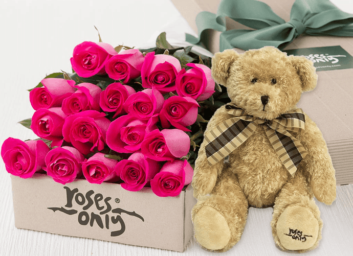 Bright Pink Roses Gift Box 18 & Teddy Bear