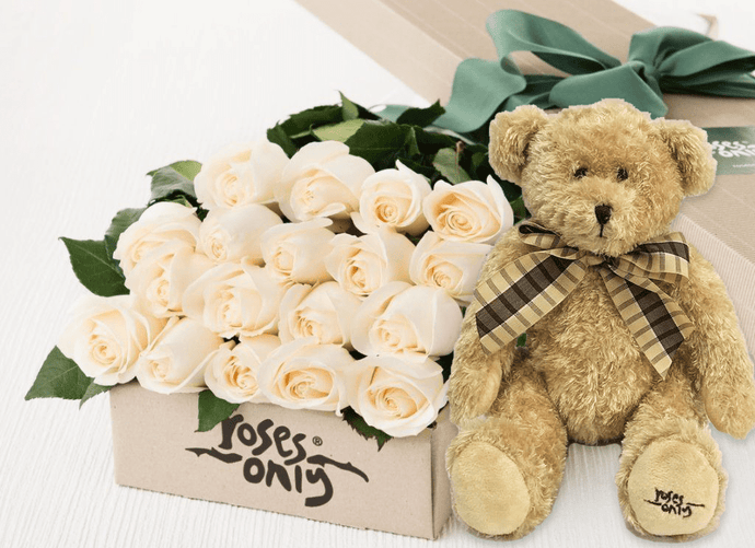 18 White Cream Roses Gift Box & Teddy Bear