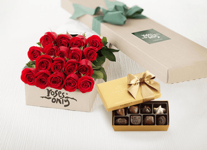 Mother's Day 18 Red Roses Gift Box & Gold Godiva Chocolates