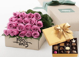 Mother's Day 18 Mauve Roses Gift Box & Gold Godiva Chocolates