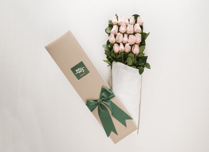 Mother's Day 18 Pastel Pink Roses Gift Box & Gold Godiva Chocolates