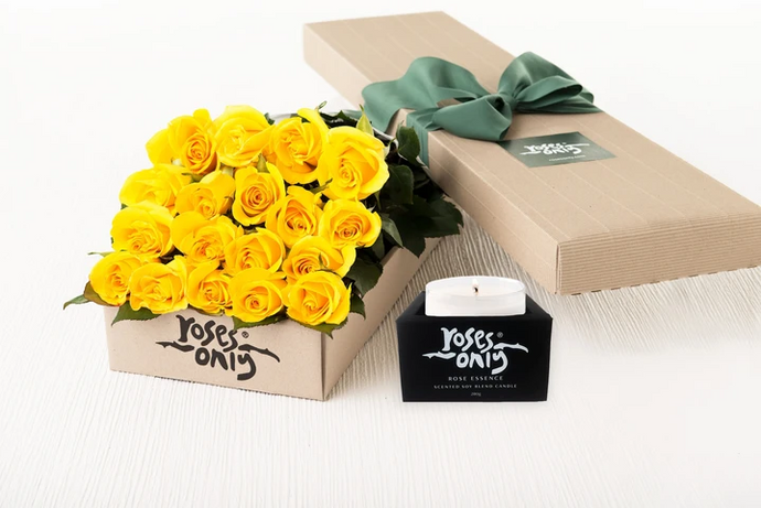 18 Yellow Roses Gift Box & Scented Candle