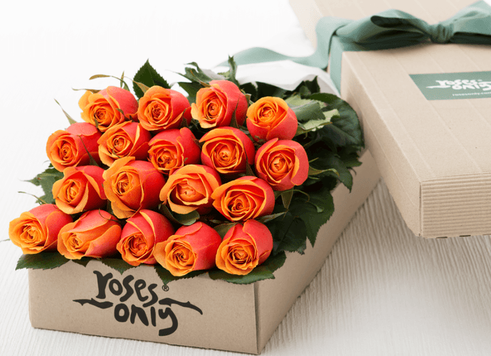18 Cherry Brandy Roses Gift Box