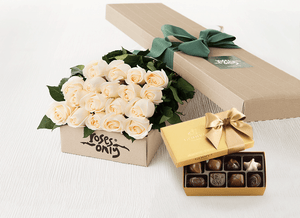 18 White Cream Roses Gift Box & Gold Godiva Chocolates