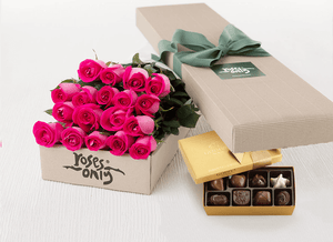 Bright Pink Roses Gift Box 18 & Godiva Chocolates