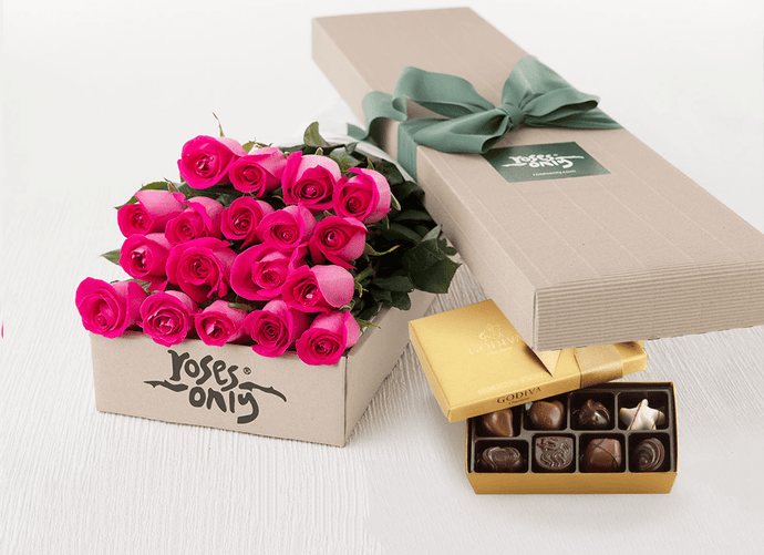 Mother's Day 18 Bright Pink Roses Gift Box & Gold Godiva Chocolates