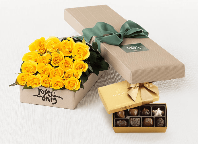 18 Yellow Roses Gift Box & Gold Godiva Chocolates