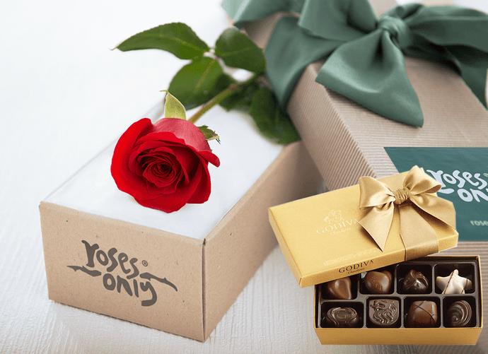 Single Red Rose Gift Box & Gold Godiva Chocolates