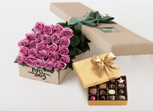 Mother's Day 24 Mauve Roses Gift Box & Gold Godiva Chocolates