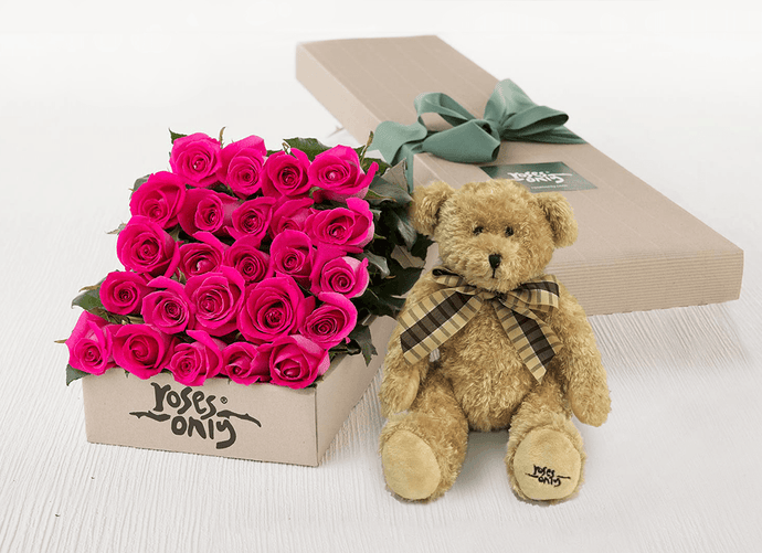 24 Bright Pink Roses Gift Box & Teddy Bear