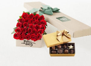 Mother's Day 24 Red Roses Gift Box & Gold Godiva Chocolates
