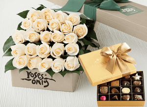 24 White Cream Roses Gift Box & Gold Godiva Chocolates
