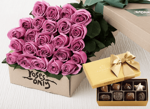 24 Mauve Roses Gift Box & Gold Godiva Chocolates