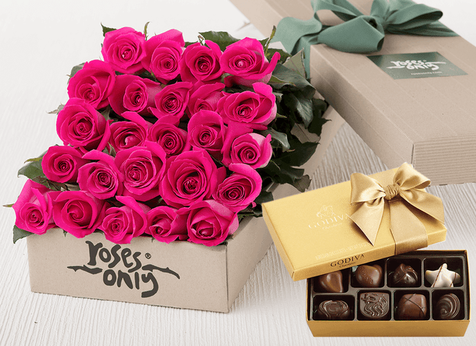 24 Bright Pink Roses Gift Box & Gold Godiva Chocolates