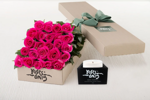 24 Bright Pink Roses Gift Box & Scented Candle