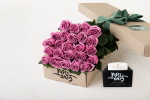 24 Mauve Roses Gift Box & Scented Candle